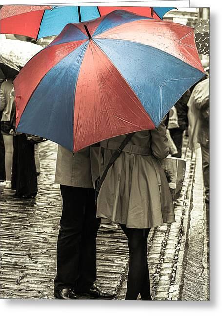 Raining Greeting Cards - Rendezvous Greeting Card by Sergey Simanovsky