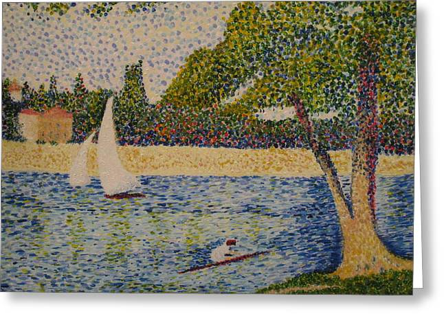 Grande Jatte Greeting Cards - Rendition of Seurats Seine Grande Jatte Greeting Card by April Maisano