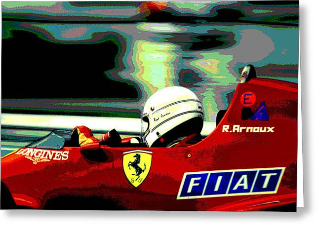 Longines Greeting Cards - Rene Arnoux and Ferrari Greeting Card by Mike Flynn