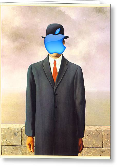Joke Mixed Media Greeting Cards - Rene Magritte Son of Man Apple Computer Logo Greeting Card by Tony Rubino