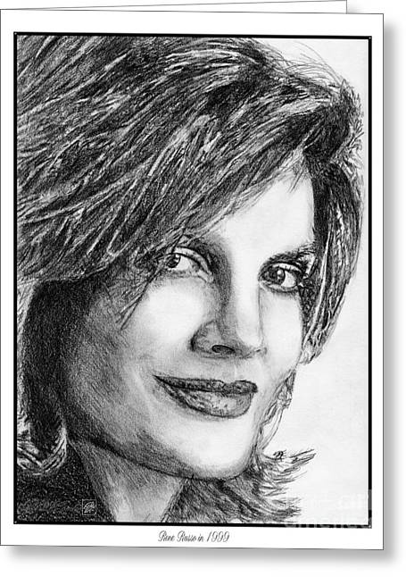 Fame Drawings Greeting Cards - Rene Russo in 1999 Greeting Card by J McCombie