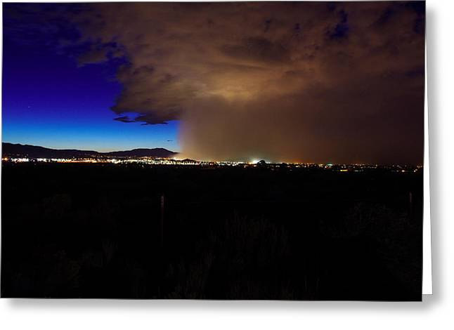City Lights Greeting Cards - Reno haboob  Greeting Card by Scott McGuire