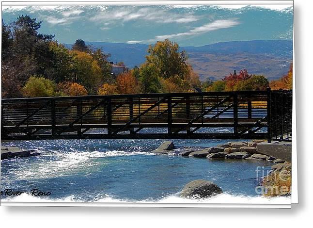 Riverwalk Digital Art Greeting Cards - Reno Riverwalk Painting Greeting Card by Bobbee Rickard