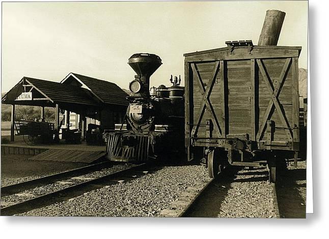 James Caan Greeting Cards - Reno RR station Old Tucson Arizona Greeting Card by David Lee Guss