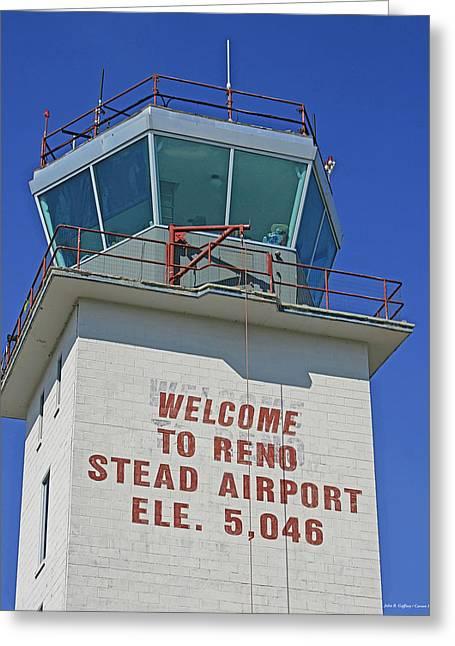 Traffic Control Greeting Cards - Reno Stead Airport Control Tower Greeting Card by John Gaffney