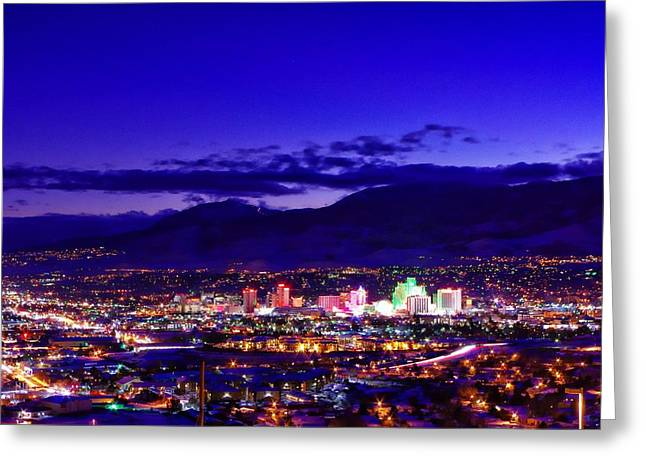 Winterscape Greeting Cards - Reno Winter Cityscape Greeting Card by Scott McGuire