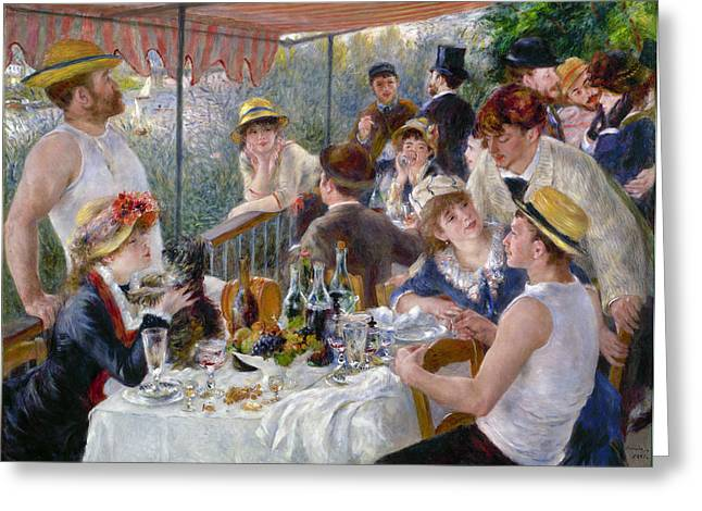 Table Wine Greeting Cards - Renoir: Luncheon, 1880-81 Greeting Card by Granger