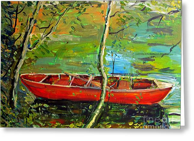 Canoe Paintings Greeting Cards - Renoirs Canoe Greeting Card by Charlie Spear
