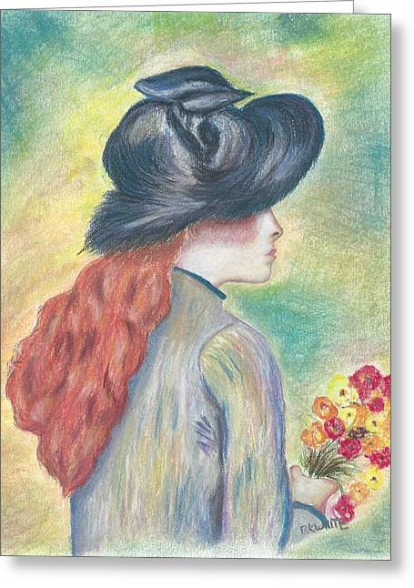 Renoir Pastels Greeting Cards - Renoirs Painting of Girl Holding a Bouquet in Pastels Greeting Card by Brian White