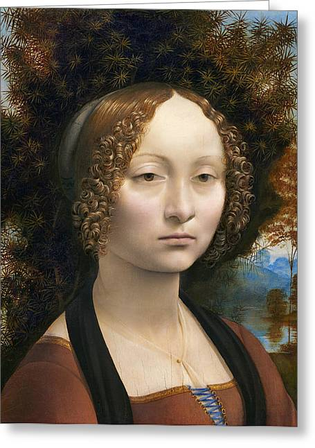 Church Painter Greeting Cards - DA VINCI BEAUTY GINEVRA de BENCI 1474 Greeting Card by Daniel Hagerman