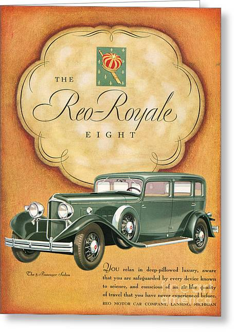 American Automobiles Greeting Cards - Reo Royale 1931 1930s Usa Cc Cars Greeting Card by The Advertising Archives