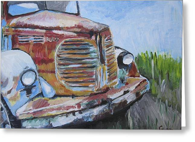 Old Relics Paintings Greeting Cards - REO Speedwagon Greeting Card by Kathy Stiber