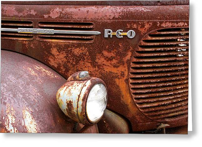 Recently Sold -  - Rusted Cars Greeting Cards - REO Speedwagon Greeting Card by Rhonda Burger
