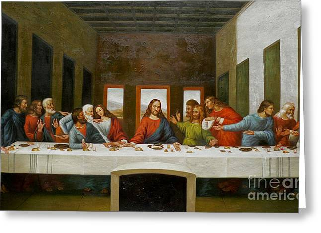 Last Supper Greeting Cards - Rep- oil painting last supper on canvas Greeting Card by Hongtao     Huang