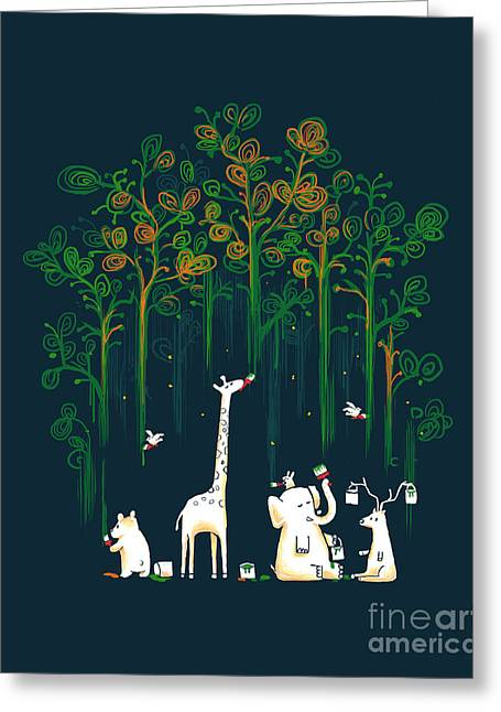 Giraffe Greeting Cards - Repaint the forest Greeting Card by Budi Satria Kwan