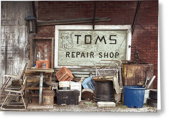 Buy Photos Online Greeting Cards - Repair Shop Greeting Card by Steven  Michael