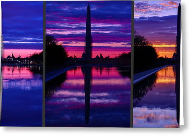 Wwii Greeting Cards - Repairing The Monument Triptych Greeting Card by Metro DC Photography