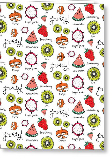 Repeat Print - Fruits Greeting Card by Susan Claire
