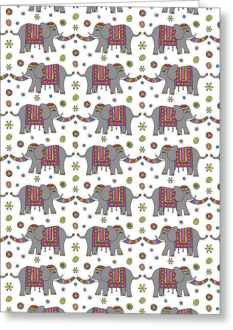 Repeat Print - Indian Elephant Greeting Card by Susan Claire