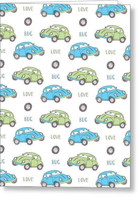 Beetle Car Greeting Cards - Repeat Print - Love Bug Greeting Card by Susan Claire