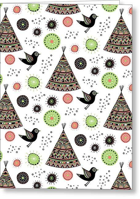 Native American Illustration Greeting Cards - Repeat Print - Wild Night Greeting Card by Susan Claire