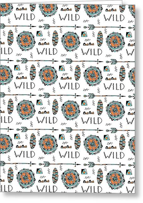 Native American Illustration Greeting Cards - Repeat Print - Wild Greeting Card by Susan Claire