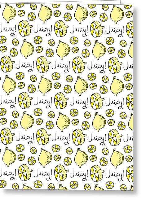Repeat Prtin - Juicy Lemon Greeting Card by Susan Claire