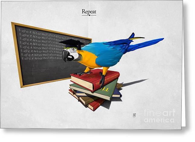 Parrot Mixed Media Greeting Cards - Repeat Greeting Card by Rob Snow