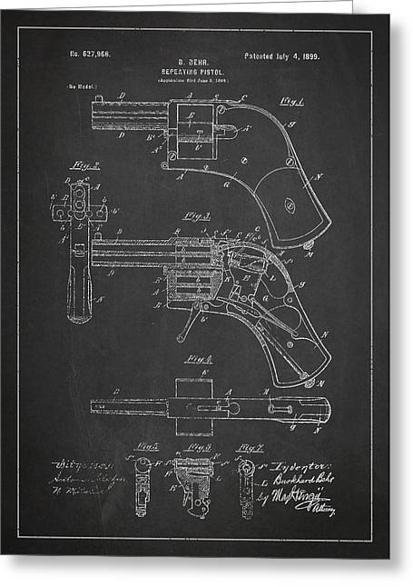 Pistol Greeting Cards - Repeating Pistol Drawing From 1899 Greeting Card by Aged Pixel