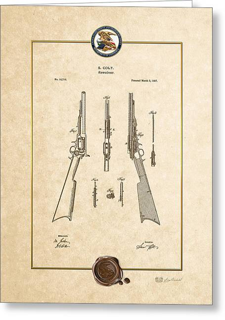 Lubricate Greeting Cards - Repeating Rifle Lubrication Method by S. Colt - Vintage Patent Document Greeting Card by Serge Averbukh