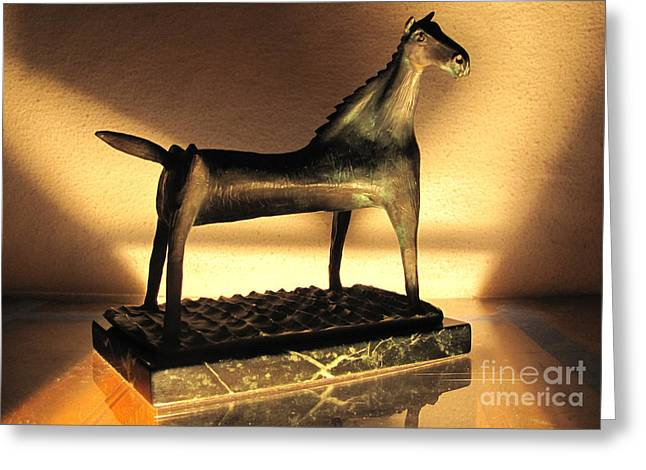 Survivor Art Sculptures Greeting Cards - rephotographed SEA MARE Original bronze sculpture Limited Edition of 3 sculptures Greeting Card by Charlie Spear