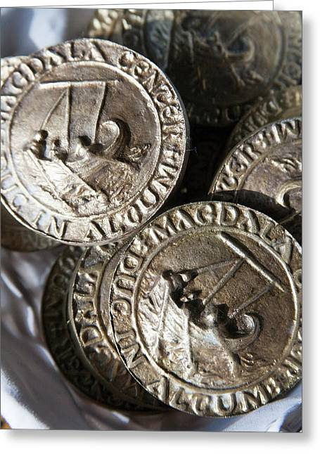 Replica Ancient Roman Coinage Once Greeting Card by Dave Bartruff