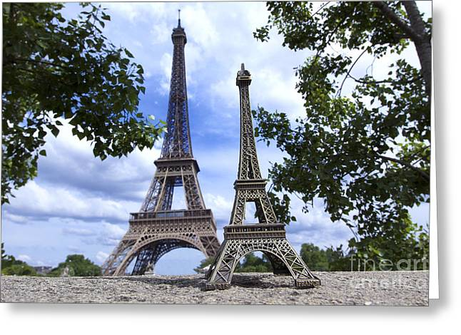 Transmitter Greeting Cards - Replica Eiffel Tower next to the real Eiffel Tower Greeting Card by Bernard Jaubert