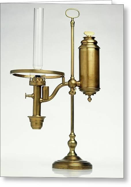 Replica Of Oil Lamp Greeting Card by Dorling Kindersley/uig