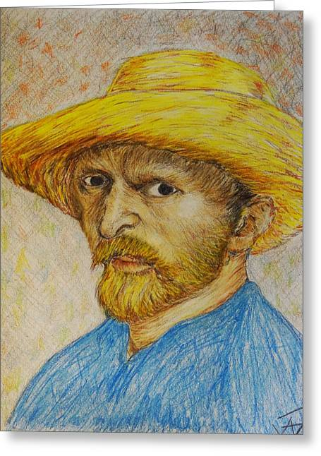Straw Hat Drawings Greeting Cards - Replica of Van Goghs Self-Portrait with Straw Hat Greeting Card by Jose A Gonzalez Jr