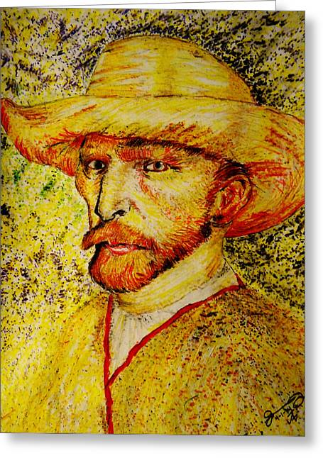 Pa Drawings Greeting Cards - Replica of Vincents Self-Portrait with Straw Hat 1887 Greeting Card by Jose A Gonzalez Jr