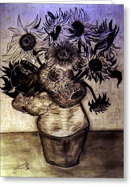 3.14 Drawings Greeting Cards - Replica of Vincents Still Life - Vase with Twelve Sunflowers Greeting Card by Jose A Gonzalez Jr