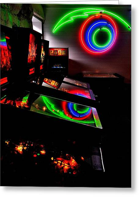 80s Greeting Cards - Replicant Arcade Greeting Card by Benjamin Yeager