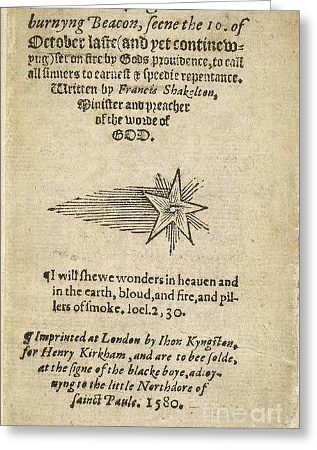 Book Title Greeting Cards - Report On The Comet Of 1580 Greeting Card by British Library