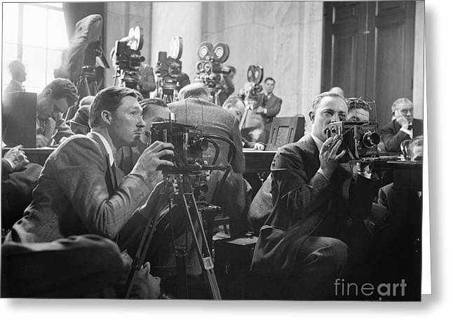 Us Senate Greeting Cards - Reporters Filming Law Hearings, 1939 Greeting Card by Library Of Congress