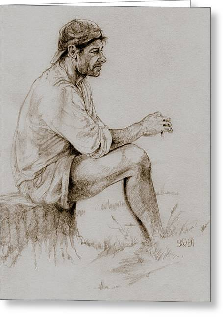 Western Pencil Drawings Greeting Cards - Repose Greeting Card by Derrick Higgins