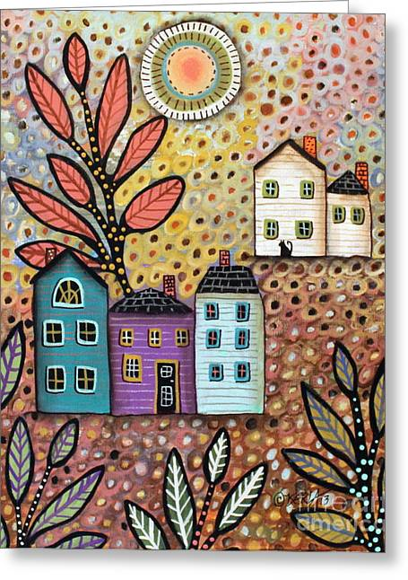 Folk Art Landscapes Greeting Cards - Repose Greeting Card by Karla Gerard