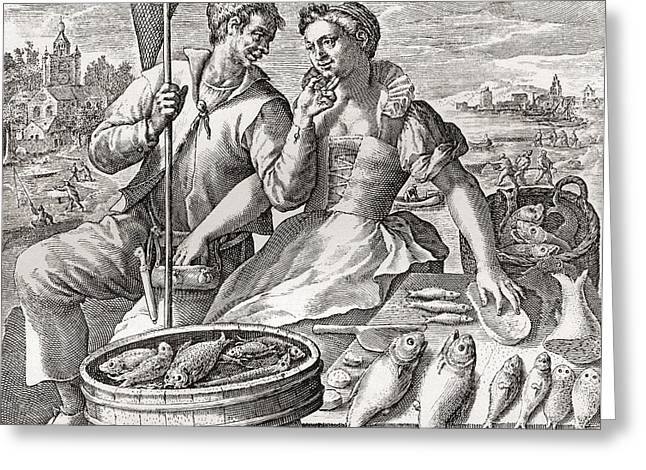 Fishmongers Greeting Cards - Representation Of Sensual Love, After Crispijn Van De Passe The Elder.   From Illustrierte Greeting Card by Bridgeman Images