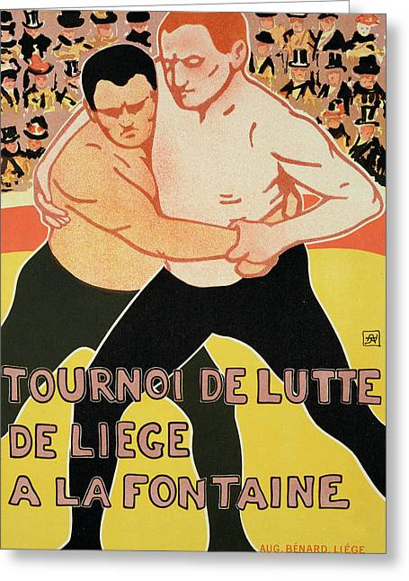 Billboard Greeting Cards - Reproduction of a poster advertising a wrestling tournament Greeting Card by Armand Rossenfosse