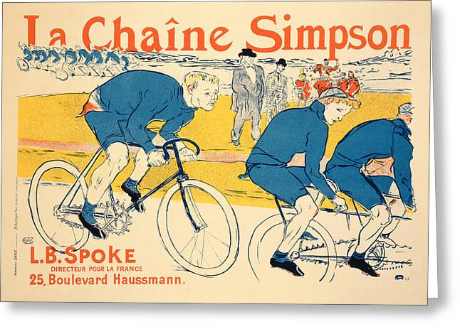 Bike Race Greeting Cards - Reproduction Of A Poster Advertising Greeting Card by Henri de Toulouse-Lautrec