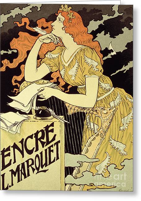 Pensive Drawings Greeting Cards - Reproduction of a poster advertising Marquet Ink Greeting Card by Eugene Grasset