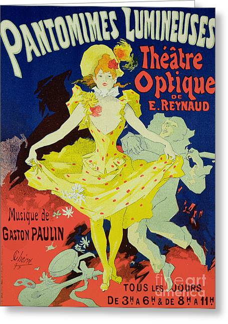 Pantomime Greeting Cards - Reproduction of a Poster Advertising Pantomimes Lumineuses at the Musee Grevin Greeting Card by Jules Cheret