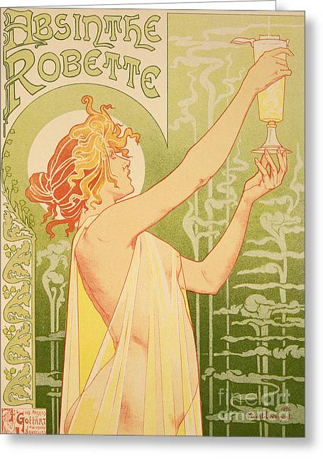 Seen Greeting Cards - Reproduction of a poster advertising Robette Absinthe Greeting Card by Livemont
