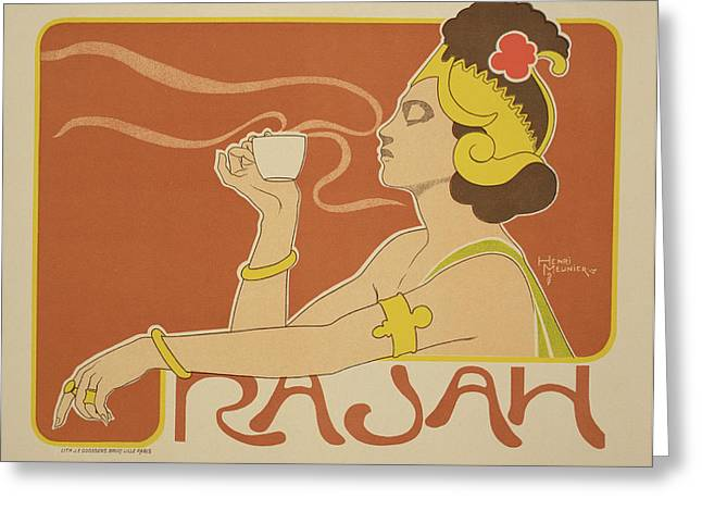 Gold Ring Greeting Cards - Reproduction of a poster advertising the Cafe Rajah Greeting Card by Henri Georges Jean Isidore