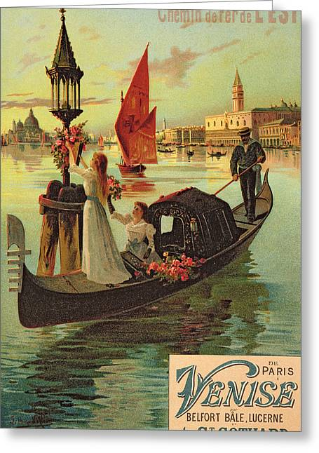 Gondolier Drawings Greeting Cards - Reproduction of a Poster Advertising the Eastern Railway from Paris to Venice  Greeting Card by Hugo dAlesi
